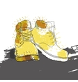 hand drawn graphic Men winter boots on white vector image vector image
