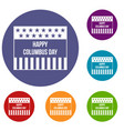 happy columbus day icons set vector image vector image