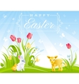 Happy Easter banner border Sunny day spring vector image