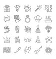 holiday accessories linear icons set birthday vector image