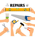 home repair tools in hands vector image