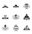 indulge logo set simple style vector image