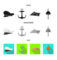 isolated object journey and seafaring icon set vector image