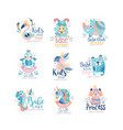 kids club and babe toyshop logo design set badges vector image vector image
