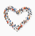large group people in heart sign shape vector image