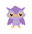 lovely purple owlet cute bird cartoon character vector image vector image