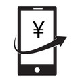mobile money icon on white background japanese vector image vector image