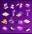payment methods glowing isometric icons vector image