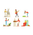 people creative professions and hobbies set vector image vector image