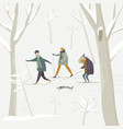 people skiing in winter snowing forest vector image