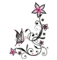 Pink and black flowers vector image vector image
