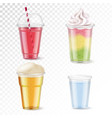 plastic glasses realistic set vector image