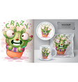 rabbit cactus - mockup for your idea vector image