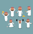 saudi arabian businessman in different poses set vector image