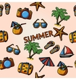 Seamless summer handdrawn pattern with - coconut vector image vector image