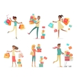 Set of Shopping People Concepts in Flat Design vector image vector image