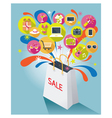 Shopping Bag with Sale Text and Various Icons vector image vector image
