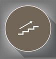 stair with arrow white icon on brown vector image