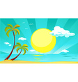 summer design with sun palm tree beach and sea vector image vector image