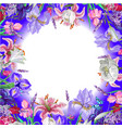 tender round floral empty template with butterfly vector image vector image