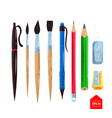top view of artist supplies vector image