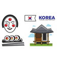 traditional korean temple and food vector image vector image