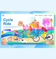 web page design template shows family riding the vector image vector image