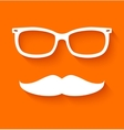 White hipster glasses and mustache vector image