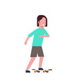 woman skateboarding over white background cartoon vector image