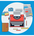Workplace with retro typewriter vector image vector image