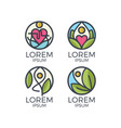 yoga logo set vector image