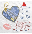 heart shaped denim patch vector image