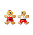 3d gingerbread realistic man woman xmas vector image