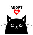 adopt me dont buy black cat face silhouette red vector image vector image