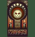 art nouveau halloween card full moon skull vector image vector image