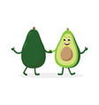 avocado cartoon character isolated on white vector image vector image