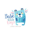 babe club logo design emblem with cute bear can vector image vector image