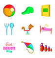 babycare icons set cartoon style vector image vector image