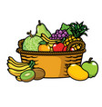 basket full of fruits vector image vector image