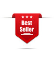 best seller red colored with shadow ribbon vector image vector image