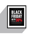 black friday sale poster on walldiscount up to 30 vector image vector image