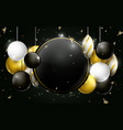 black gold and white christmas balls background vector image