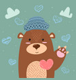 brown bear - cute heart and love vector image