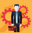 businessman with briefcase gears team vector image vector image