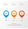 car icons set collection of auto wheelbase vector image vector image