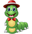 cartoon caterpillar with hat and bow tie vector image