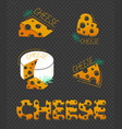 cheese icons black background vector image