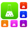 chemical flask set color collection vector image
