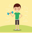 cute boy lifting dumbbell fitness sport vector image vector image