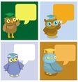 cute owl with speech bubbles vector image vector image